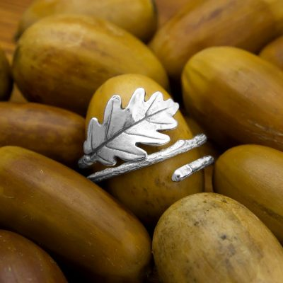 anillo roble plata